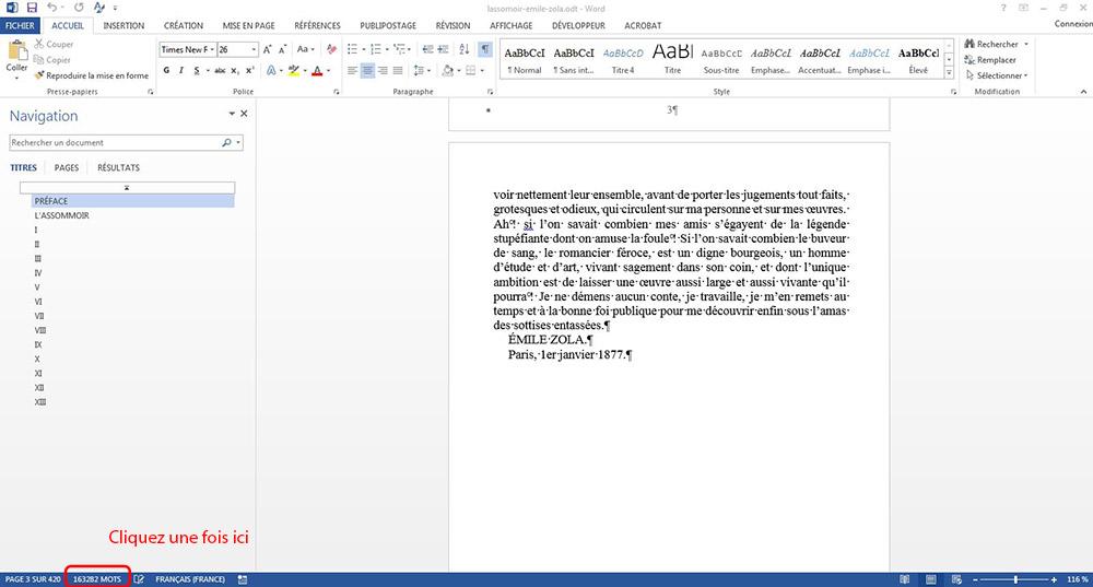 Comment connaître le nombre de signes d'un document Word
