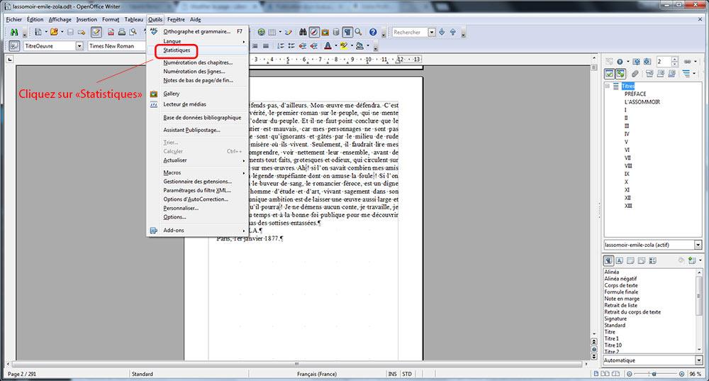 Comment connaître le nombre de signes d'un document Writer