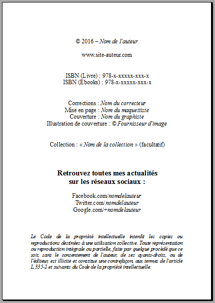 Exemple de page de copyrights