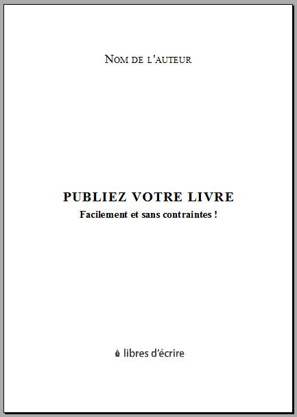 Exemple de page de titre